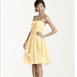 David's Bridal Strapless Chiffon Layered Dress 2